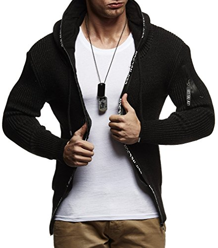 Leif Nelson LN20741 Men's Zip Knit Hoodie Slim Fit