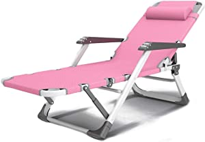 HTL Comfortable and Stable Heavy Duty Sun Lounger Garden Chairs Zero Gravity,Camping Garden Deck Chairs Folding Recliner Reclining Waterproof Chaise Sunloungers for Patio Pool Beach Lawn Niture,Pink