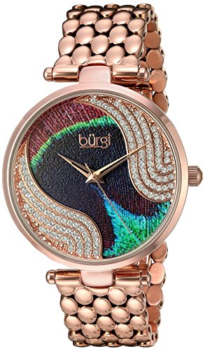 Burgi Women's Genuine Swarovski Crystal Peacock Feather Pattern Dial With Rose-Tone Case on Rose-Tone Stainless Steel Bracelet Watch BUR162RG