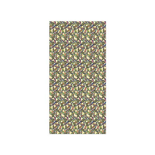 - 3D Decorative Film Privacy Window Film No Glue,Abstract,Pastel Colored Foliage Vintage Inspired Vibrant Leaves Ornamental Pattern Retro Decorative,Multicolor,for Home&Office