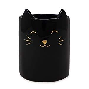 Isaac Jacobs Black Ceramic Cat Makeup Brush Holder, Multi-Purpose Cup Organizer. Bathroom, Kitchen, Bedroom, Office Décor (Single Cup, Glossy Black)
