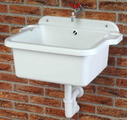 Outdoor Sink with Drain Fittings, Screws and Plugs for Wall Mounting