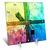 3dRose Alexis Photography - Abstracts - Colorful abstract of a grunge industrial window - 6x6 Desk Clock (dc_270480_1)