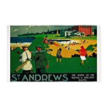 CafePress - St. Andrews, Golf, Vintage Poster 3'X5' - Decorative Area Rug, Fabric Throw Rug