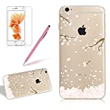 Case Cover For Iphone 7 PLUS, Girlyard Shine Blossom Plum Floral Painting Pattern Designed Case Cover Soft Silicone Case Rubber Bumper Flexible Cover Ultra Clear Slim Protective Case Cover[Free Screen Protector]