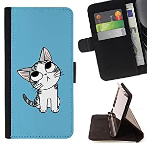 - Cute Japanese Thoughtful Cat - - Monedero PU titular de la tarjeta de cr????dito de cuero cubierta de la caja de la bolsa FOR Samsung Galaxy S5 Mini, SM-G800 RetroCandy
