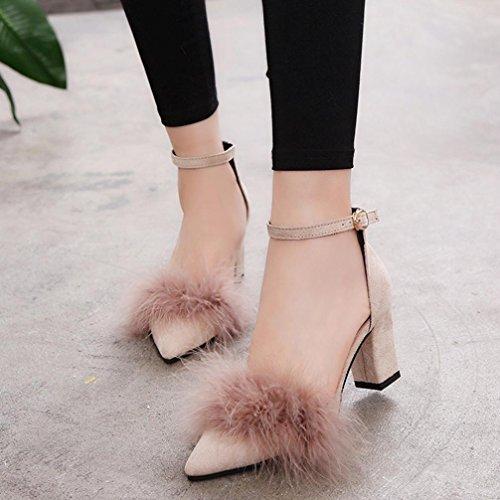 Damenschuhe Kolylong® Frauen Elegant Plüsch Spitze Schuhe High Heels Vintage Sandalen mit absatz Mode Sandalette Stilettos Sommerschuhe Party Wedding Hochzeitsschuhe Khaki