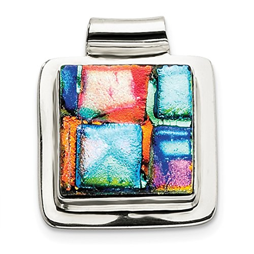 ICE CARATS 925 Sterling Silver Multicolor Dichroic Glass Square Pendant Charm Necklace Fine Jewelry Ideal Gifts For Women Gift Set From (Dichroic Glass Necklace)