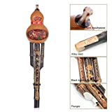 ammoon Chinese Bamboo Hulusi Gourd Cucurbit Handmade Flute Ethnic Musical Instrument Key of C with Case for Beginner Music Lovers