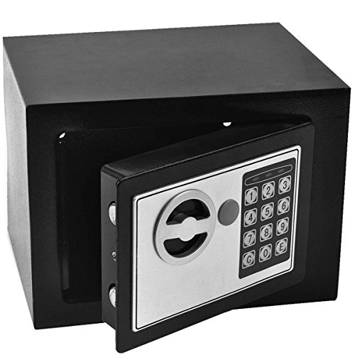 GHP 8.9'' X 6.5'' X 6.5'' Black Solid Steel Digital Electronic Small Safe Box by Globe Warehouse (Image #1)