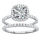 Marquise White Cubic Zirconia Platinum over .925 Silver 2-Piece Halo Bridal Ring Set Size 6