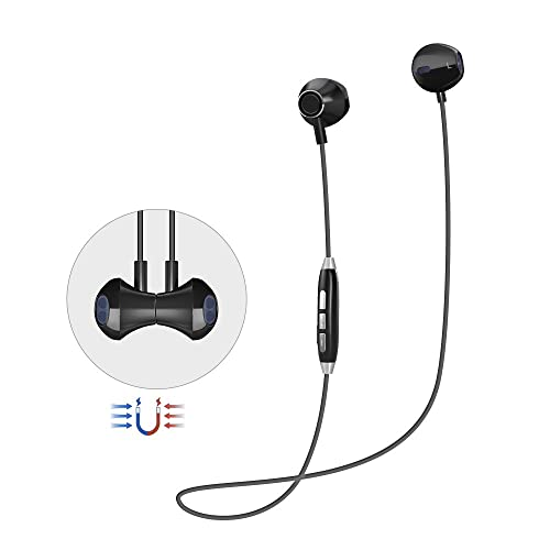 Bluetooth Headphones Magnetic Wireless Sports Headphones V4.1HiFi Stereo Earphones Noise Diminishing Running Headsets with Mic for iPhone Android Phones(black)
