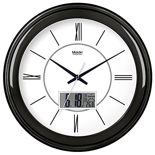 BYLE Wall Clock Quartz Mute Non-Ticking Silent Kitchen Living Room Battery Round Clock Simple Muted Electronic Quartz Clock Home Decor Wall Clock, 14 Inch, Flat-Panel Lcd -501, Carbon Black