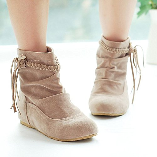 Cómodo Calentar Beige Mujer Invierno Zapatos De Botas Botines Otoño Cargadores Minetom Moda E Flecos SpPR4