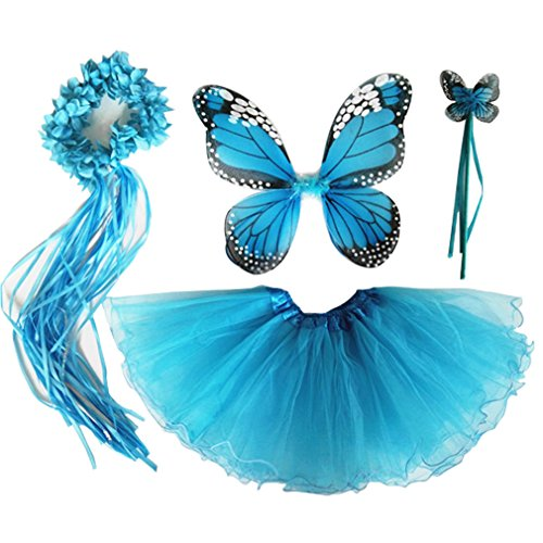 4 PC Girls Fairy Princess Costume Set with Wings, Tutu, Wand & Halo (Turquoise)