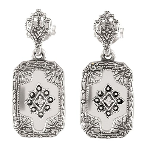 Art Deco Frosted Crystal and Diamond Filigree Earrings in Sterling Silver