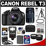 Canon EOS Rebel T3 Digital SLR Camera and 18-55mm IS Lens with 75-300mm Lens + 32GB Card + Battery + Case + 3 Filters + Tripod + Flash + Tele/Wide Lens Kit, Best Gadgets