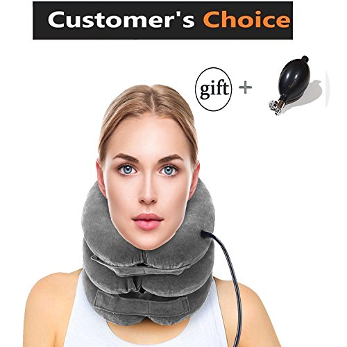 H&L Cervical Neck Traction Device® - Pain Relieving Remedy Chronic Neck & Shoulder Alignment Pain - Inflatable & Adjustable Neck Stretcher Collar+ PUMP BONUS (Device Traction)