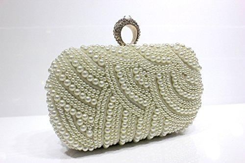 Pearl diamond banquet dinner bag Xiekua package handmade pearl wedding hand bag by FYios