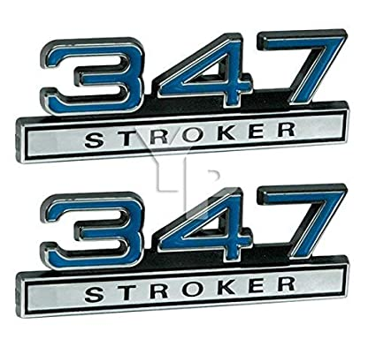 345 5.7 Liter High Performance Engine Emblems in Chrome /& Blue Trim 4 Long Pair