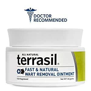 Terrasil® Wart Removal - Safe for Sensitive Skin, Dr. Recommended, 100% Guaranteed, All-natural, Pain free, Acid free, Patented Treatment for common warts, facial warts, genital warts, anal warts, and flat warts, 44g