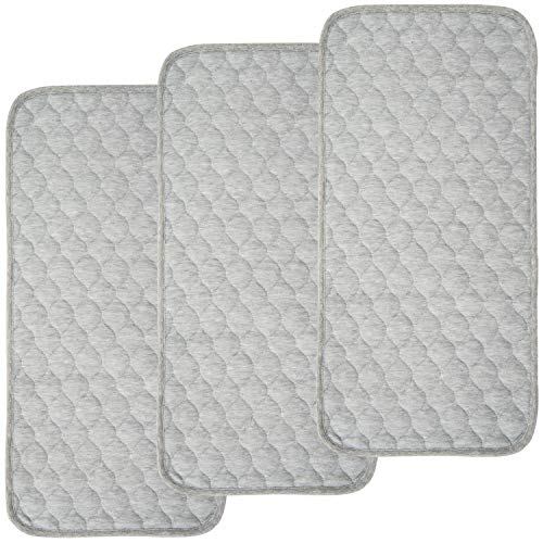 BlueSnail Bamboo Rayon Quilted Thicker Longer Waterproof Changing Pad Liners for Babies 3 Count (Heather Gray)