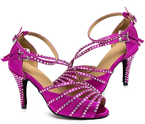 Out Ballroom Purple Modern Shoes Cut Wedding Latin Ankle Crystals TDA Women's Dance Satin Tango Sexy Strap pUInvzZ