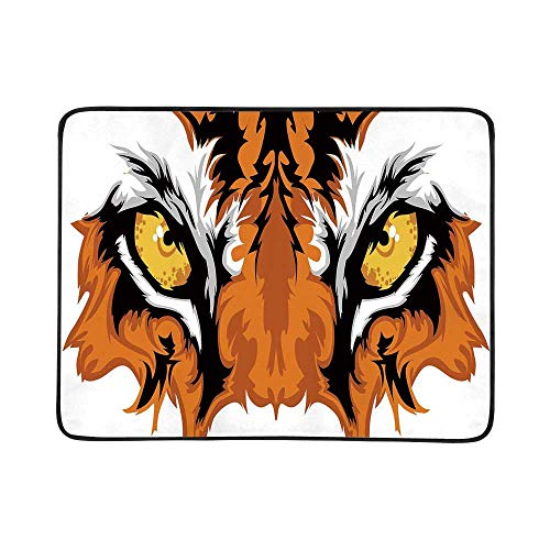 YOLIYANA Eye Utility Beach Mat,Tiger Eyes Graphic Mascot Animal Face Bengal Cat African Safari Predator Theme Decorative for Home,One Size (Best Insect Repellent For African Safari)