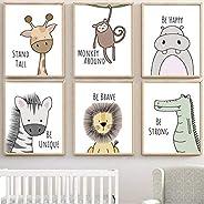 Barhe - Juego De 6 Cuadros Infantiles PóSteres Linda Pintura Decorativa Animal, HabitacióN Infantil, Pared De