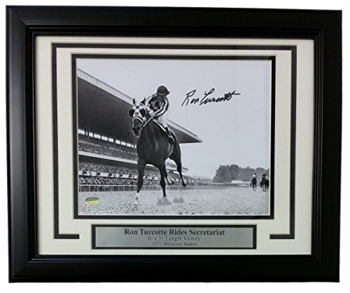 Ron Turcotte Signed Framed 8x10 Secretariat 1973 Belmont Stakes B&W Photo Sports Integrity COA by Sports Integrity