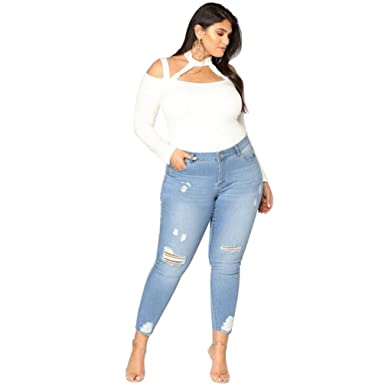 0e574b5a54b68 Yukong Women's Zipper Plus Size Ripped Stretch Slim Denim Skinny Jeans Pants  High Waist Trousers (