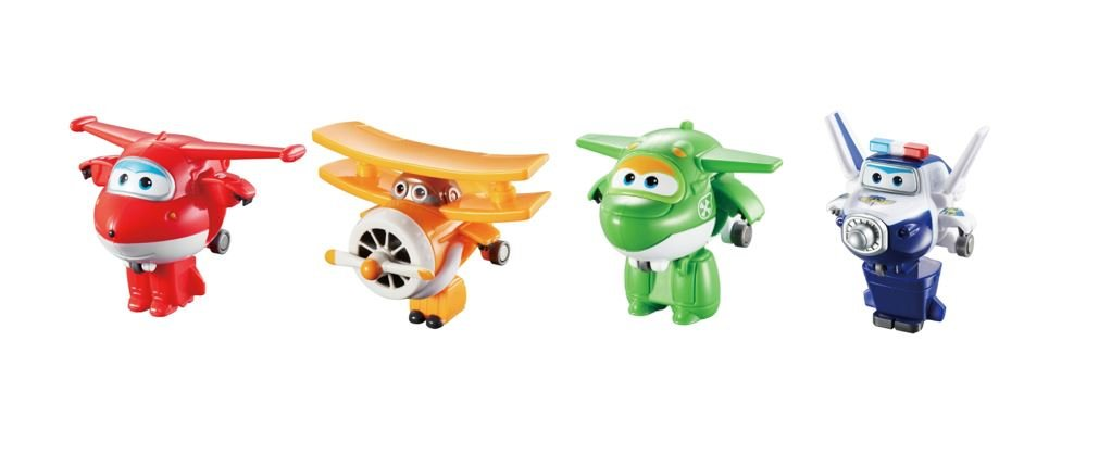 "Super Wings US710610 Transform-A-Bots, Jett, Paul, Mira, Grand Albert, Toy Figures, 2"" Scale"