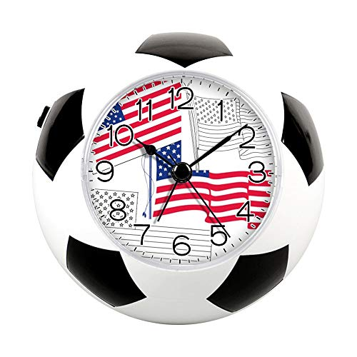 Printable Football Decorations (GIRLSIGHT2 Alarm Clock for Decoration, Football Soccer Clock&Fun Silent Quartz Analog Non-Ticking Bedside Alarm Clock-125.Free Printable US American)