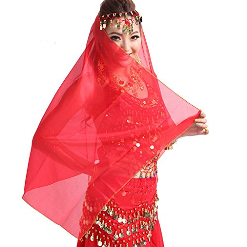 Pilot-trade Women Headband Belly Dance Face Veil Dancing Headpiece Chiffon Coins Head Scarf Shawl Red
