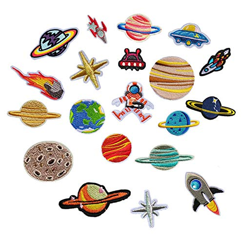 Ginooars Iron On/Sew On Patches Pack of 20 Pcs - Astronaut,The Planets,Earth DIY Embroidered Applique Decoration Patches for Jackets, Backpacks, Jeans, Clothes (Patches Planet Earth)