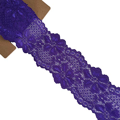 Stretch Purple Lace - LACE REALM 2.5″×10 Yards Stretch Floral Pattern Lace Ribbon Trim Lace for Headbands Garters Decorating Floral Designing & Crafts (Purple)