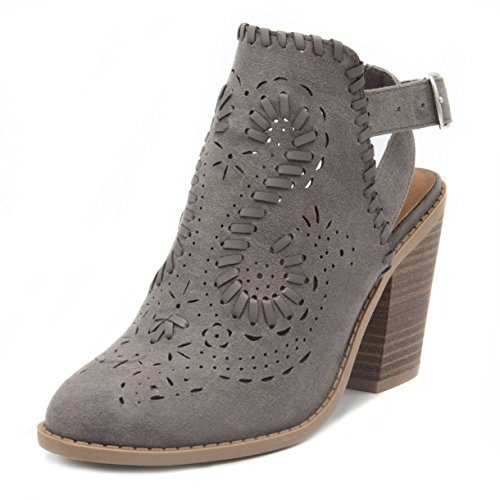 Open Back Ankle Boots (Rampage Women's Regal Ankle Boot Slingback Bootie with Cutout Wraparounds and Woven Open Ankle with Whipstitch 7.5 Grey)