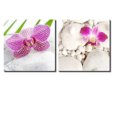 Wall26 - Two Piece Canvas - Pink Orchid Flowers on White Rocks on 2 Panels - Canvas Art Home Decor - 16x16 inches