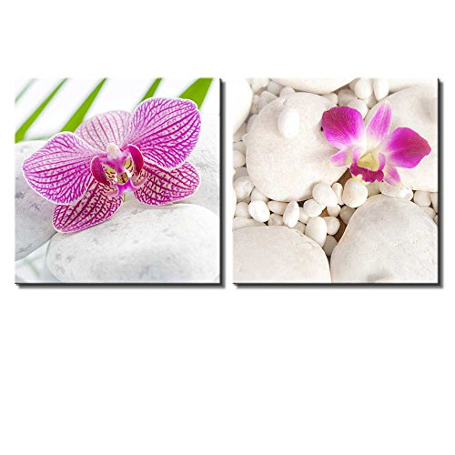 Two Piece Pink Orchid Flowers on White Rocks on 2 Panels