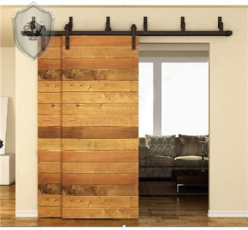 Kirin 8 ft Bypass nuevo Diy puerta corrediza de granero madera armario rústico negro Hardware (forma plana): Amazon.es: Bricolaje y herramientas