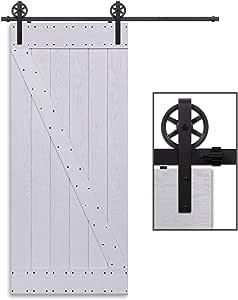 CCJH 8FT-244cm Herraje para Puerta Corredera Kit de Accesorios para Puertas Correderas Rueda Riel Juego para Una Puerta de Madera: Amazon.es: Bricolaje y herramientas