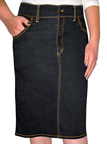 Kosher Casual Women's Knee Length Denim Pencil Skirt Medium