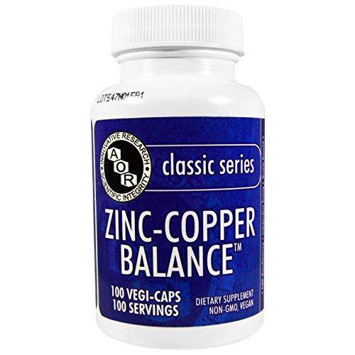 Advanced Orthomolecular Research AOR, Classic Series, Zinc-Copper Balance, 100 Veggie Caps - 3PC
