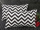 Set of 2 Indoor / Outdoor Decorative Lumbar / Rectangle Pillows - Brown & Ivory Chevron / Zig Zag
