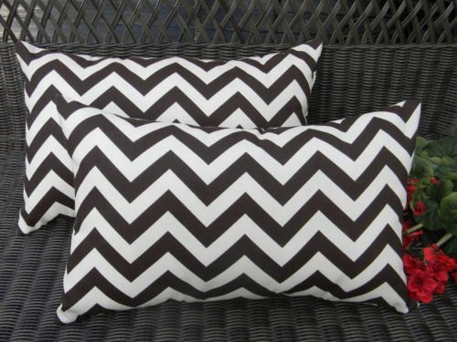 Set of 2 Indoor / Outdoor Decorative Lumbar / Rectangle Pillows - Brown & Ivory Chevron / Zig Zag