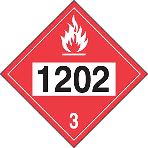 Accuform Signs MPL744VS1 Adhesive Vinyl 4-Digit DOT Placard, Hazard Class 3, Legend
