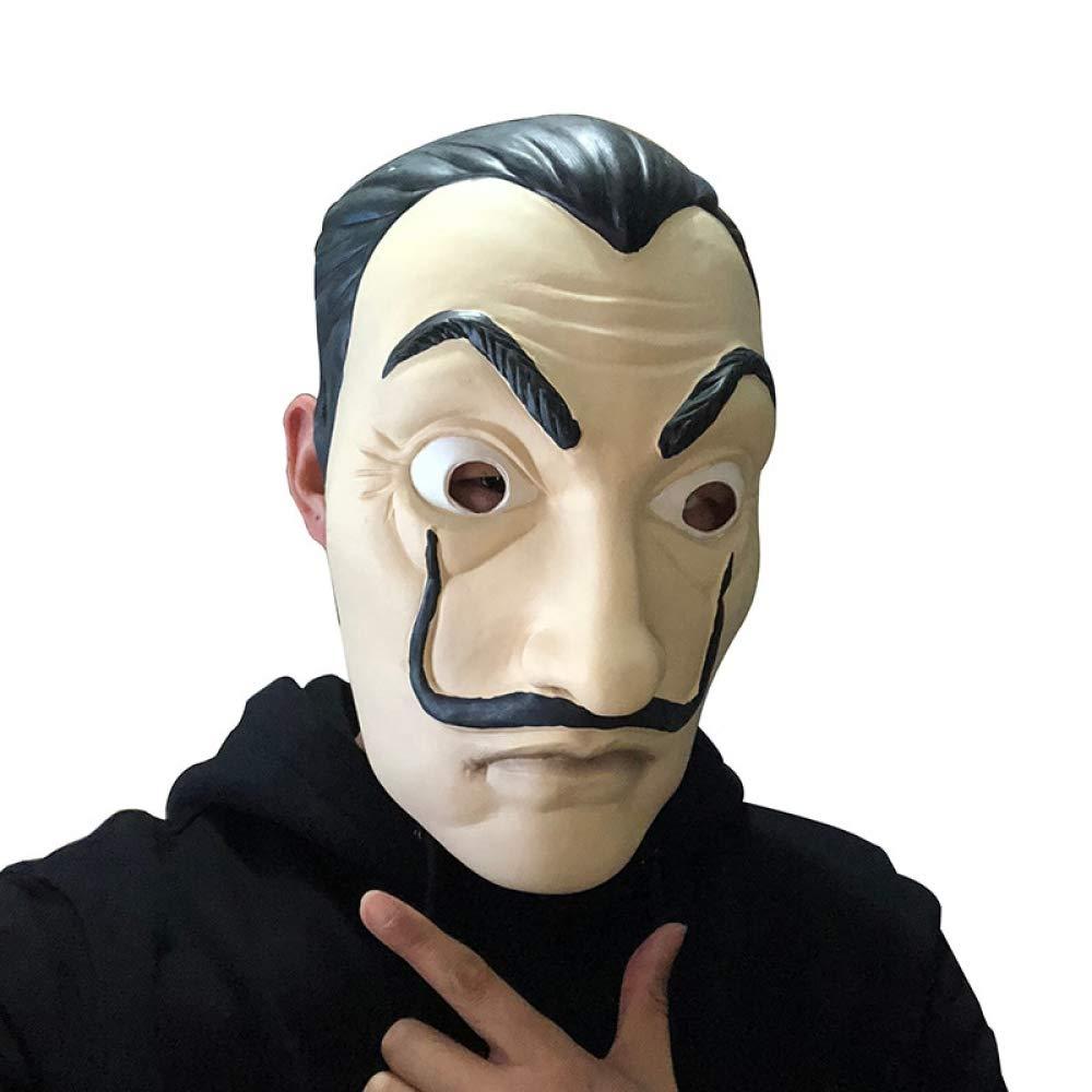 JYYC Máscara de La Casa de Papel Máscara de Cosplay de Salvador Dalí Latex Máscaras de Halloween Realistic Party Party Props: Amazon.es: Juguetes y juegos