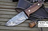 Handcrafted Damascus Hunting Knife - Beautiful Bushcraft Knife With File Work in Spine - Amazing Value