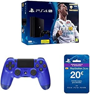 PlayStation 4 Pro (PS4) - Consola de 1 TB + FIFA 18 + Sony - Dualshock 4 V2 Mando Inalámbrico, Color Wave Blue (PS4) + Sony - Tarjeta Prepago 20€ (PlayStation): Amazon.es: Videojuegos