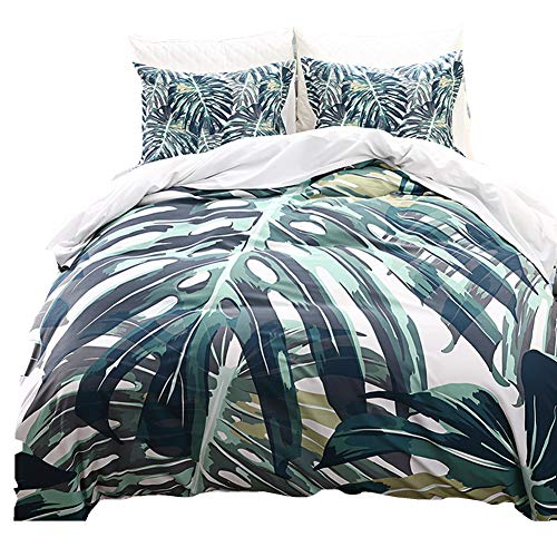 Linen_specialist Duvet Cover Set Tropical Green Palm Tree Leaves Pattern Queen Size, 100% Microfiber Botanical Bedding Set with Zipper Closure and Ties for Kids Boys Girls and Lady (Multi 4, Queen)